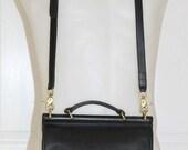 COACH VTG Willis Black leather cross body shoulder bag purse USA 9927