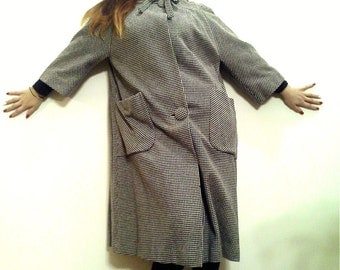 MOD 50's, 60's A-line Houndstooth Check, WOOL Vintage 1960's Coat, size Large