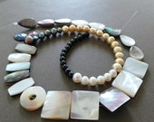 Square Shell Mother of Pearl, Freshwatrer Pearl, Peacock Rainbow Baroque Pearls Onyx Beads Mulit Stone Strand