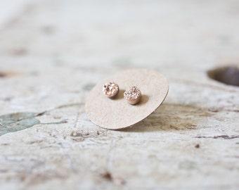 Rose Gold Drusy Earrings Druzy Sterling Silver Studs, Tiny Druzy Earrings, Drusy Studs Gold Bezel Set, Druzy Silver Earrings, Drusy Earrings