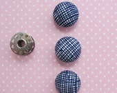 Covered Buttons 7/8 Inch | Blue Crosshatch Print Fabric Covered Shank Buttons | Handmade Button Embellishments