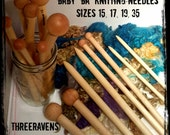 Handmade Knitting Needles  from Threeravens - Baby BA needles in 4 sizes and lengths, birch wood, BIG knitting
