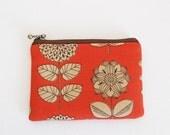 Mini zipper pouch - Etching flower in orange