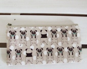 Flat  zipper pouch  - pug (natural)