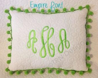 "Monogrammed Quilted Handmade Pom Pom Pillow Girl Teen Tween Gift Dorm Sorority Personalized 11x9"" White Home Dec"