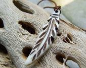 Bone Feather || Earthy | Organic | Hand-Knotted | Nature | Minimalist | Woodland Wedding | Bride | Bridesmaid | Etsy Necklace Under 20