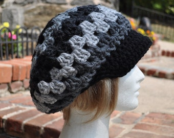 Retro Style Granny Square Crochet Hat with Brim- Gray and Black Women's Hat - Newsboy Hat for Women
