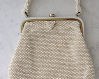 50s Corde Bead Lumured White Cream Beaded Vintage Bag - 1950s Bead Purse - Bridal Wedding Party Prom True Vintage Handbag
