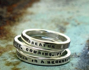 Personalized Rings, Set of 3 Smooth Like Butter Posey Rings, custom made sterling silver ring set by Kathryn Riechert (Tiny Text)