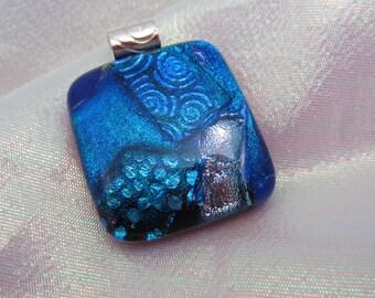 Large Dichroic glass pendant Aegean Blue dichroic pendant Fused glass jewelry Blue  silver fused dichroic glass jewelry coastal blue water