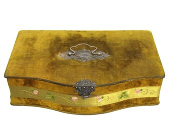Antique Art Nouveau Velvet Covered Jewelry Box Ornate Latch Handle Chartreuse Green Satin Lined Hand Embroidered Ribbon Circa 1910