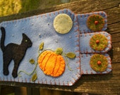 Black Cat, Halloween Coaster, Coffee mug rug Orange Pumpkin