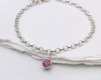 Pink Tourmaline Charm Bracelet, October Birthstone, Sterling Silver, Handmade in the UK