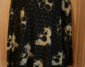 Vintage 80s Black and Gold Teddy Bear Sweater Size Large