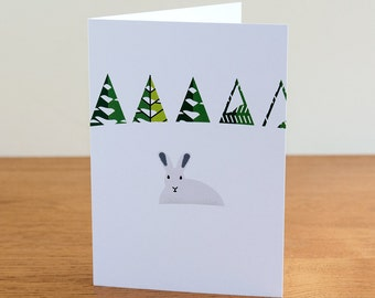 """Barnål Snø (Pine Needle Snow) greetings card - """"Arctic Hare"""" design"""