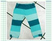 Handmade Upcycled T shirt Toddler Pants Size 2T Aqua Stripe
