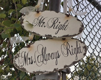Mr and Mrs Chair Signs | Wedding Signs | Mr. Right | Mrs. Always Right | Oval Wedding Signs | Wood Signs | Wedding Planning | Wedding Decor