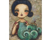 The knitter of the sea - Giclee print reproduction of an original mixed media painting by Danita Art