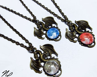 Moon Dragon Pendant - Pick your Moon Color with 20 inch Chain