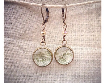 Pale Green and Ivory Lace dangle earrings for bridesmaids, gifts, holidays