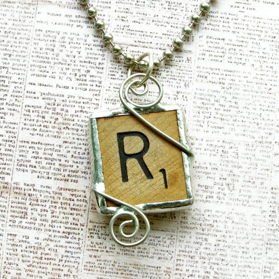 Scrabble Letter R Pendant Necklace
