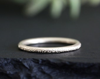 stardust 14k white gold wedding ring, solid recycled gold band, eco friendly