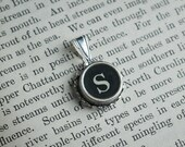 Initial TYPEWRITER Key PENDANT Letter S Black or Light Jewelry Vintage Unique Gift