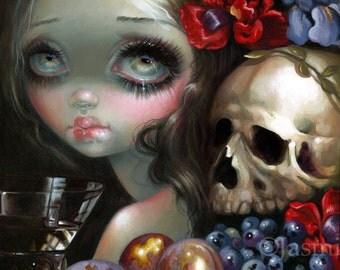 Stilleven XI: Vanitas art print by Jasmine Becket-Griffith 8x8 dutch still life memento mori 11 skulls skull skeleton grapes fruit