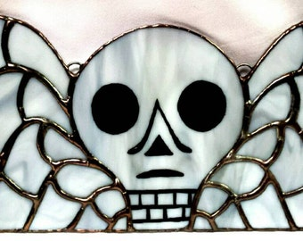 Winged Skull Stained Glass -Gravestone Stained Glass - Memento Mori - Winged Skull  - Sarah Segovia - Fragile Beauty - Gothic Cemetery