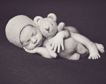 Preorder Bear &  Hat  Set NEWBORN props BABY