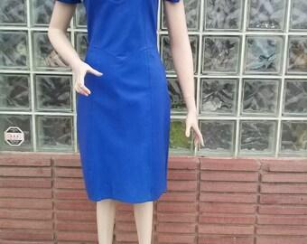 Vintage 1980s Blue Leather Dress New Wave Punk US8 B35 W 28 20150717J108