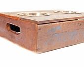 Elevated Vintage Wood Crate Dog Feeder.  No. 8.