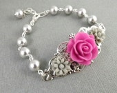 Fuschia and Gray Silver Filigree Flower Bracelet