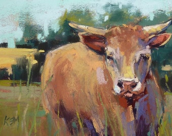French Cow Normandy FRANCE Cows Original Pastel Painting 5x7