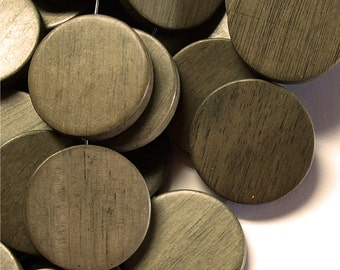 WDCN-30GR - Wood Bead, Coin 30mm, Graywood - 8 Inch Strand