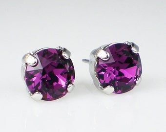 Amethyst Rhinestone Stud Earrings Swarovski Violet Purple Wedding Jewelry Flower Girl Earrings Bridesmaid Earrings