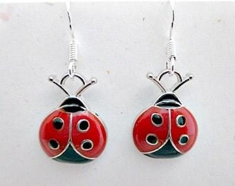 Enamel Ladybug Pierced Earrings on 925 Silver Wires - Ladybug Good Luck Charm Dangle Earrings Jewelry Gift