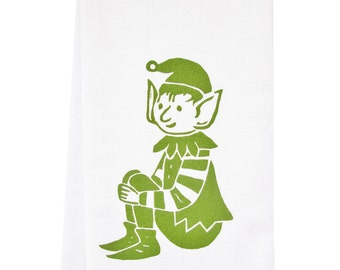 NEW stripey elf organic tea towel