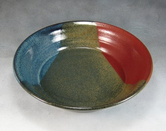 Red Yellow and Blue Deep Dish Pie Pan Hand Thrown Stoneware Pottery 9