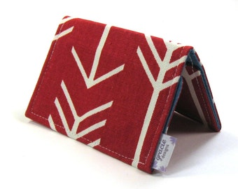 Mini Wallet / Card Holder / Business Card Holder / Card Case / Gift Card Holder/ Small Wallet - Red Arrow Fabric