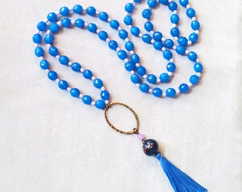Long Tassel Necklace, Blue crystal beaded boho Necklace, Bohemian necklace, Gypsy Necklace, Anniversary gift for her, Mala style necklace