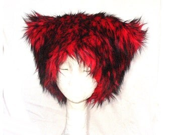 Mi Vida Roja faux fur hat - Kozy Kitty Hat - Red husky fur - fleece lining luxe fur - men women Mardi Gras fuzzy hat Burning Man festival