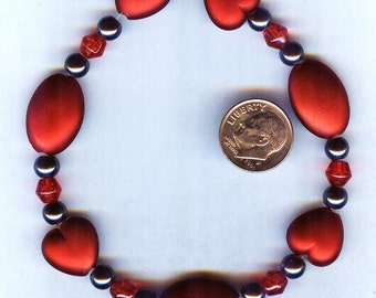Fabulous Cherry Red Matte Acrylic Beads - Hearts and Ovals 9pcs