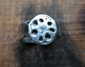 Lotus Pod Ring in Fine Silver - size 8