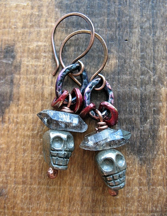 Pyrite Skulls, Herkimer Diamonds, Red Patina Droplet Beads and Violet Patina Link Earrings