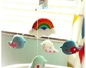 NEW Custom BIRD PARADE Musical Baby Mobile with Rainbow, Cloud, Sun, Moon, Tree, Heart, Hanging Baby Mobile, Crib Mobile, Bird Theme Decor