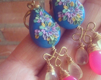 Pale Green Prehnite, Hot Pink Chalcedony, Frida Kahlo, Indian Inspired, Ethnic, Azure Blue, Polymer Clay, Clay Applique, Candelier Earrings