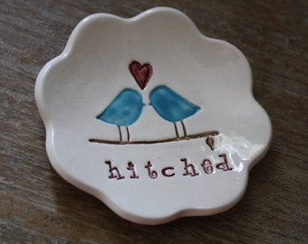 Ring Dish Love Birds Ring Bowl Jewelry Holder Wedding Gift Hitched