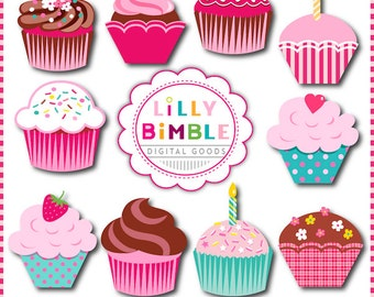 40% off SWEET CUPCAKES clipart for invitations, birthdays, scrapbooking cupcake clip art Instant Download