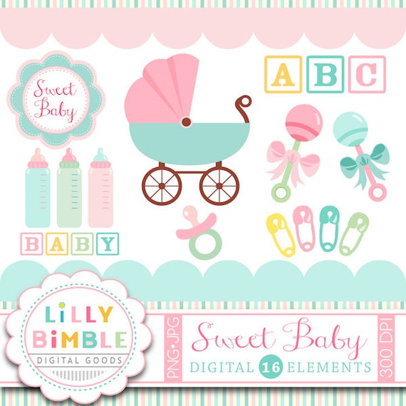 40% off Baby shower clipart carriage, rattles, bottles, safety pins, baby block clip art in Png and Jpg format Instant Download